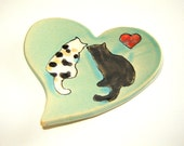 Calico and Black Cat Heart Dish for Tea Bag Holder or Spoon Rest from Goldhawk Pottery Etc