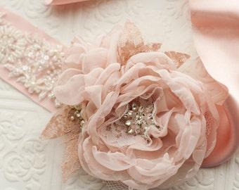 Floral bridal sash, silk flower bridal sash belt, floral belt, blush pink, dusty rose pink, ivory, rhinestone brooches, vintage style roses