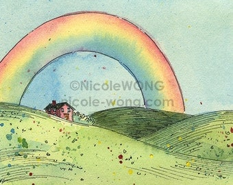 Original ACEO Painting -- Rainbow
