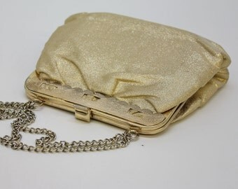 70's Gold Purse / Evening Bag / Metallic Gold / Purse with Chain