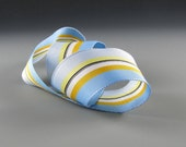 """1"""" and 1.5""""  GROSGRAIN RIBBON STRIPES Blue Yellow White    3 yards"""