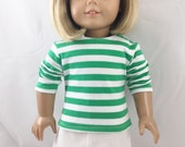 """Fits American Girl Doll 18"""" T shirt Green and White Striped Cotton Knit Top Girls Toy"""