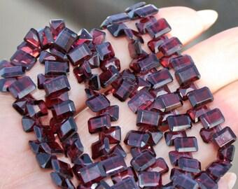 Natural Deep Merlot Garnet Faceted Rectangle Baguette Briolette Drop Beads 10 beads set 7X5.2mm size