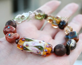 Autumn colors...Sage Green and Brown Art Lampwork  Focal Bead Bracelet, 925 Sterling Silver, size medium