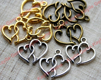 Double Heart Love Charm Pendant in Swirly Design Antique Brass, Antique Silver, Gold- 8pcs