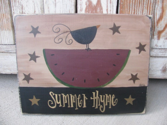 Primitive Watermelon with Crow and Stars Summer Hand Painted Wood Sign GCC3346