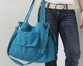 Shoulder Bag, Tote Bag, Laptop bag, Diapers bag, School bag, shopping Bag, Travel Bag, Gift Ideas for Women - EZ in Teal -  SALE 30% OFF