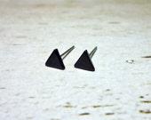 Tiny Black Triangle Stud Earrings, Dainty Earrings - 5mm