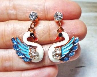 Swan Drop Stud Earrings