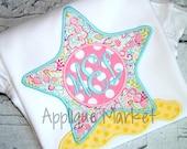 Machine Embroidery Design Applique Starfish Monogram INSTANT DOWNLOAD