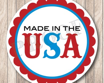 Instant Download . Made in the USA Tags . Printable 4th of July Tags