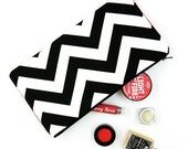 Black and White Chevron Zipper Pouch with soft red back
