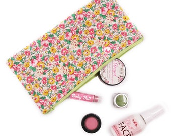 Yellow and Pink Flower Zipper Pouch
