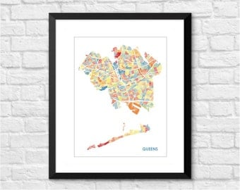 Queens Map Print.  Choose the Colors and Size.  NYC Art.  New York City Wall Decor.