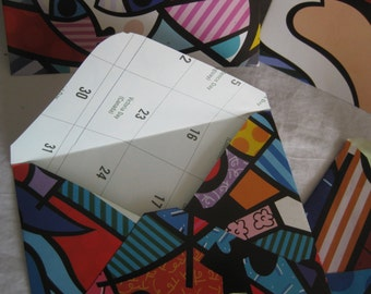 Envelopes, hand crafted, Britto calendar picture pages, 10 envelopes, mailling invitations, scrapbooking, other craft or mixed media art,