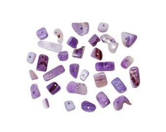 50 sea shell beads, Irregular, purple, various size
