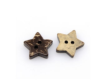 10 Brown Coconut Shell Buttons 15mm -  Star shape (BC502)