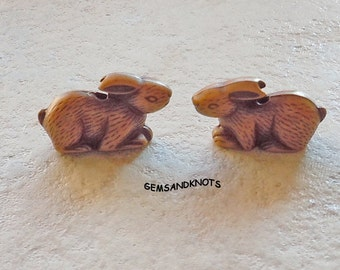 Brown Bunny Rabbit Beads Carved Wood Look 30mm GK9939