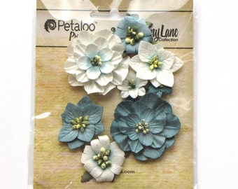 mulberry flowers - paper flowers - Petaloo flowers - Mixed Blossoms - card embellishments - Teal flowers - flower embellishment