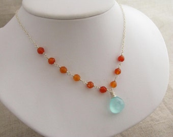 Chalcedony and Carnelian Necklace Blue Chalcedony and Carnelian Necklace Blue and Orange Gemstone Necklace Blue and Orange Necklace