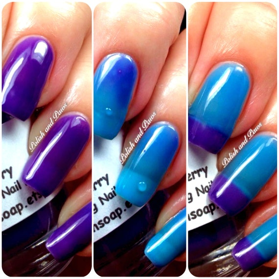 """READY TO SHIP - Color Changing Thermal Nail Polish, Ombre Blue to Purple - Mood Polish - """"Razzleberry""""- Gift for Her - Girlfriend Gift"""