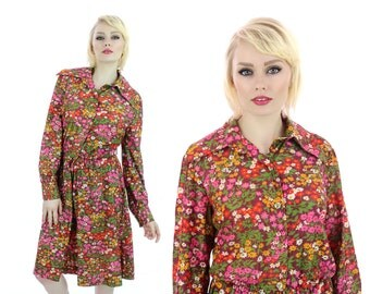 70s MOD Dress Vintage Psychedelic 1970s 60s Bright Floral Button Down Circle Skirt Retro Medium M Large L