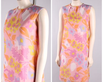 vintage 1950s flower dress cotton fitted party dress bright colored rose flower print size small