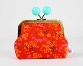 Metal frame coin purse with color bobble - Hanako rouge - Color dad / Petit Pan french fabric / neon pink red orange deep teal mint green
