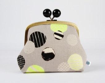 Metal frame clutch bag - Neon circles in yellow grey and blak - Color bobble purse / Modern graphic / Japanese fabric / dots stripes white