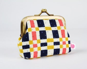 Metal frame change purse - Steamer trunk in navy - Deep mum / Japanese fabric / Cotton and Steel / Alexia Abegg