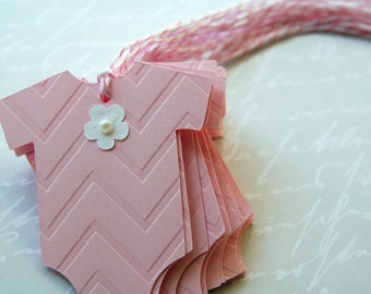12 onesie pink chevron embossed tags  baby shower thank you  wish card with embossed chevron pattern