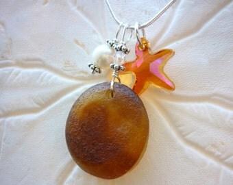 Starfish Sea Glass Necklace Beach Glass Seaglass Pendant Sea Glass Jewelry Sterling
