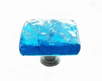 Sea Glass Knob in Deep Turquoise Ocean Wave. Unique Art Glass Cabinet Hardware in Oceanic Colors