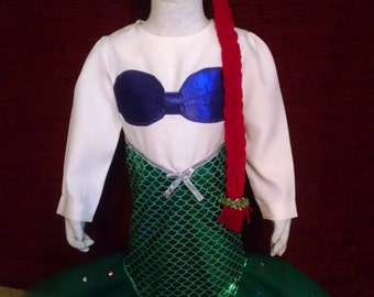 Mermaid costume, Disney Princess Ariel inspired, size 2/3, three piece set - body suit, crown, red hair braid
