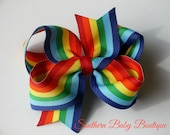 NEW----Boutique Large Hair Bow Clip or Headband----Rainbow Bow