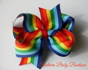 NEW--Boutique Large Hair Bow Clip or Headband--Rainbow Bow