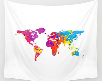 World Map Wall Tapestry, Wall Hanging, World Map Decor, Home Decor, World Map Art, Map of the World