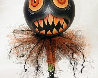 Black Cat Hand Painted Halloween Gourd  Haunted Swamp Holiday Home Decor Gourd Doll Figure