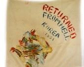 Vintage Korean War Souvenir Returned From Hell Scarf 1951