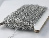 Stainless Steel chain bulk, 30 ft of Surgical Stainless Steel Soldered Sturdy Oval FLAT cable chain - 4.4x2.8mm SOLDERED Link