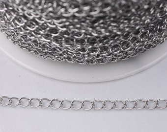 3 feet Stainless Steel Curb Chain Extender Chain - 5x4mm Sturdy Curb Chain Necklace Bracelet Extender Big Link Soldered Link Bulk Chain