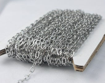Stainless Steel chain bulk , 10 ft of Surgical Stainless Steel Soldered Sturdy Oval FLAT cable chain - 4.4x2.8mm SOLDERED Link