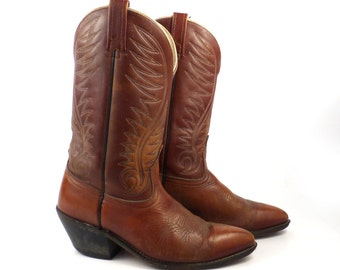 Acme Cowboy Boots 1970s Distressed Burgundy Brown Leather men's size 9 1/2 D