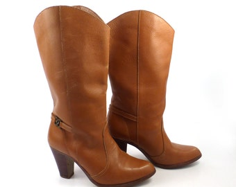 Kinney Cowboy Boots Vintage 1970s Shoes Leather Women's size 7 1/2 M Brazil