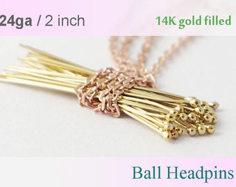 14K Gold filled Ball Headpins 2 inch 50pcs 100pcs- 24 gauge GF ball end head pins, made in USA wholesale Jewelry Supply(1207)