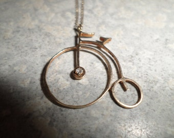 14k gold diamond penny farthing Bicycle pendant on gold chain high wheeler ordinary bike charm