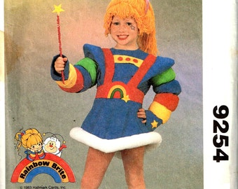 Child Rainbow Brite Costume Girls Halloween Sewing Pattern Vintage 1980s McCalls 9254 Fairy Kei Size 4, 5, 6, 7  Children Pop Culture