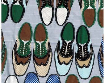 "1/2 Yard Cut Mens Wingtip Oxford Dress Shoes Timeless Treasures Fabric Madmen Bowling Shoes 18"" x 44"" Piece"