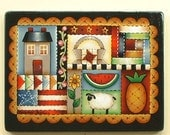 Country Quilt Handpainted on Wood 741