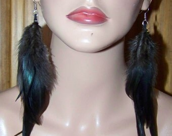 Black long feather earrings, Real feather earrings, all natural feathers, solid black feathers